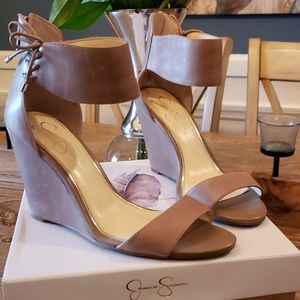 Jessica Simpson taupe wedge heel